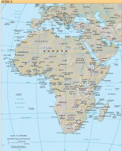 Map of Africa using the Azimuthal Equal-Area Projection and scaled at 1:51,400,000